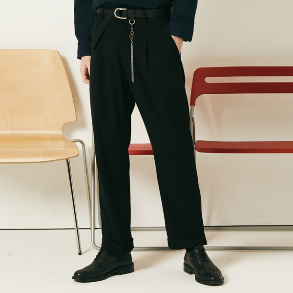 ROLL UP TR SPAN PANTS (BLACK) [FPT001H13BK]