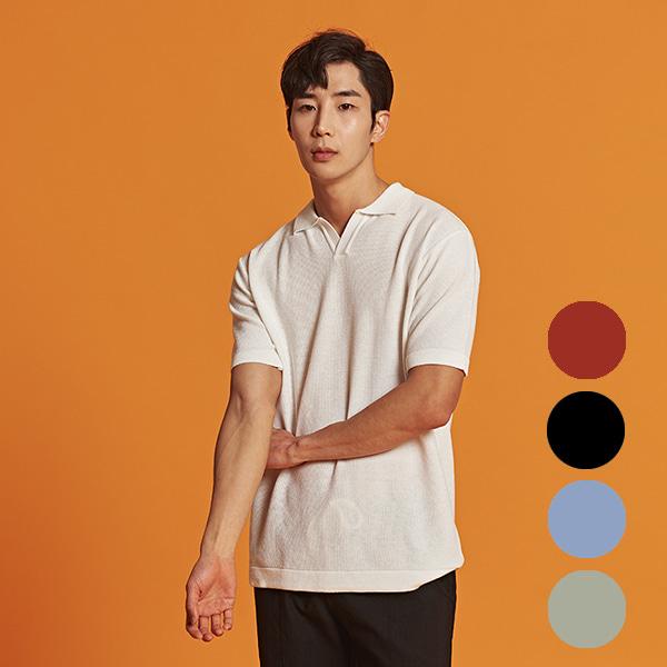 [올앤드]남성 버튼카라 하프 니트 티셔츠_LMSRI2201-102