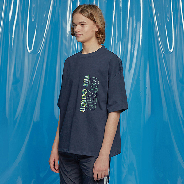 DAILY EMBO POINT OVERSIZED TEE NAVY