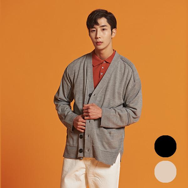 [올앤드]남성 스티치 포인트 오버핏 가디건_LMSCI1201-190