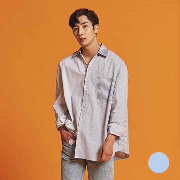[올앤드]남성 오버핏 배색 스트라이프 셔츠_LMBSI1611-190