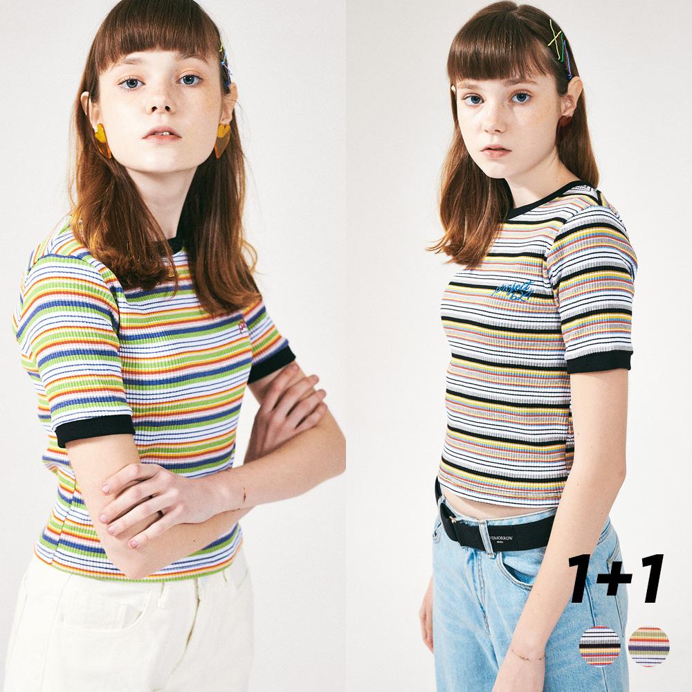 [1+1]  레인보우 슬림 스판 티셔츠 2COLOR