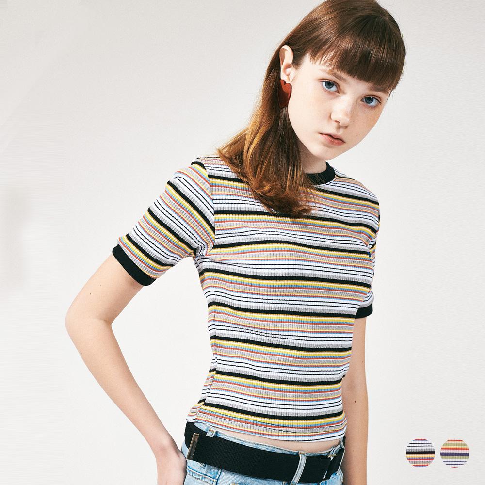 레인보우 슬림 스판 티셔츠 2COLOR