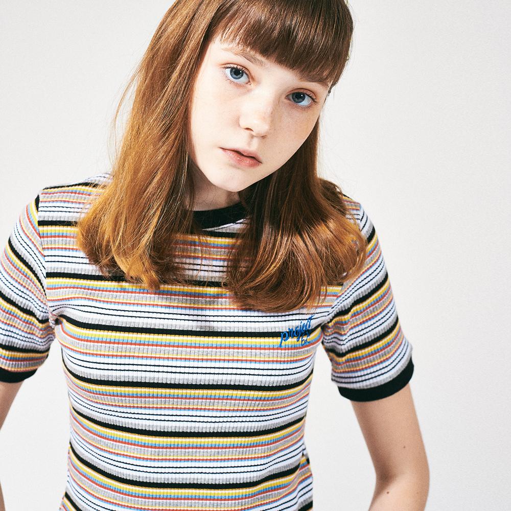 레인보우 슬림 스판 티셔츠 블랙옐로우