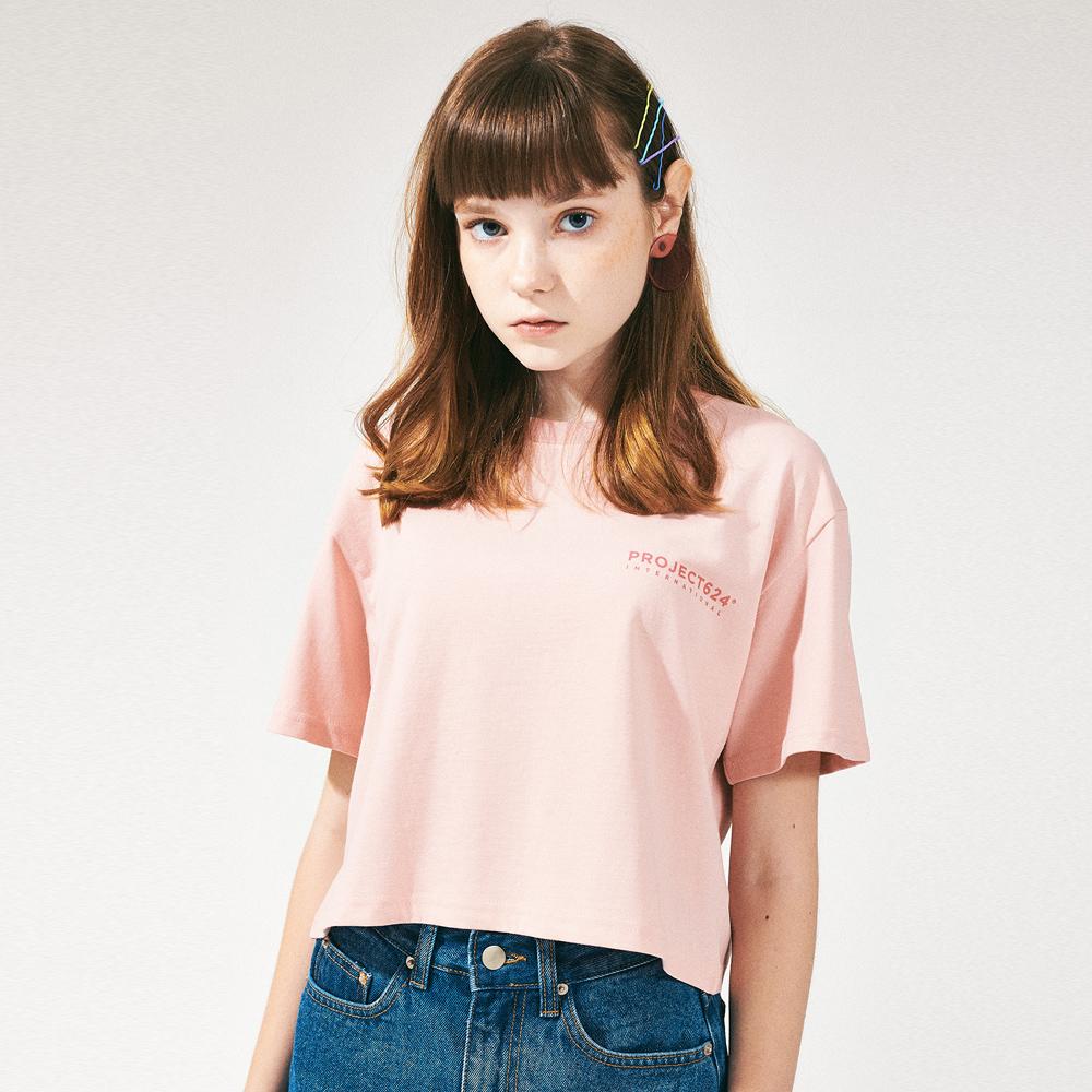 스탠다드핏 로고 크롭티셔츠 핑크