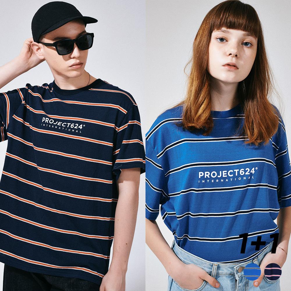 [1+1]  인터내셔날 스트라이프 로고 티셔츠 2COLOR