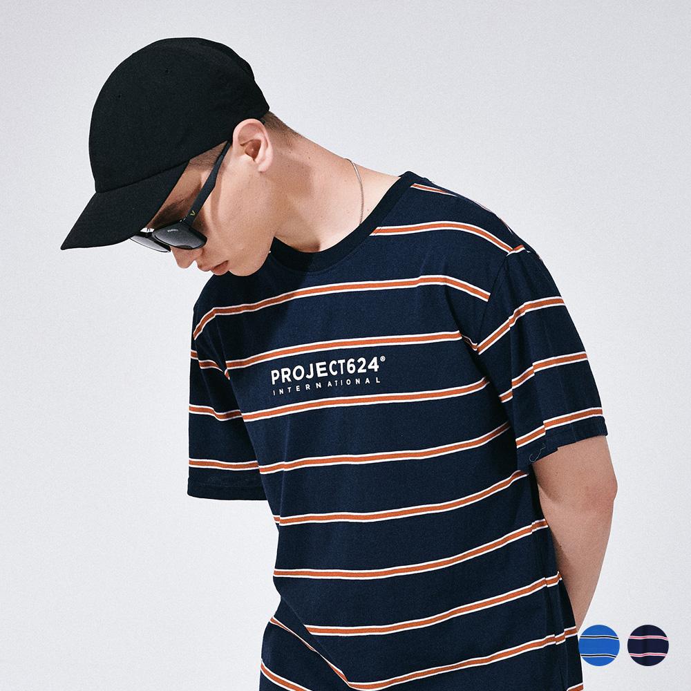 (UNISEX) 인터내셔날 스트라이프 로고 티셔츠 2COLOR