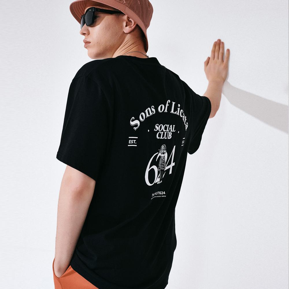 (UNISEX) 썬즈 오브 리카타 리어 아트웍 티셔츠 블랙