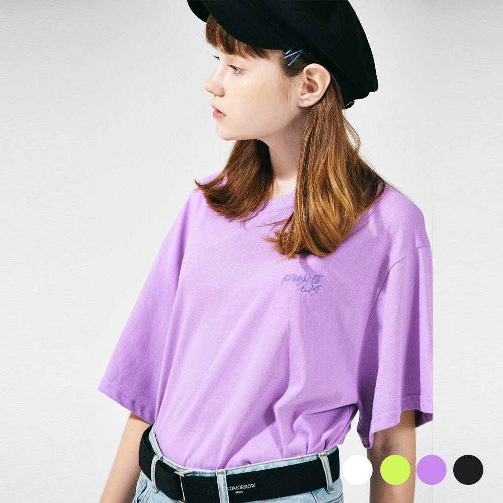 (UNISEX) 스탠다드 자수 로고 티셔츠 4COLOR
