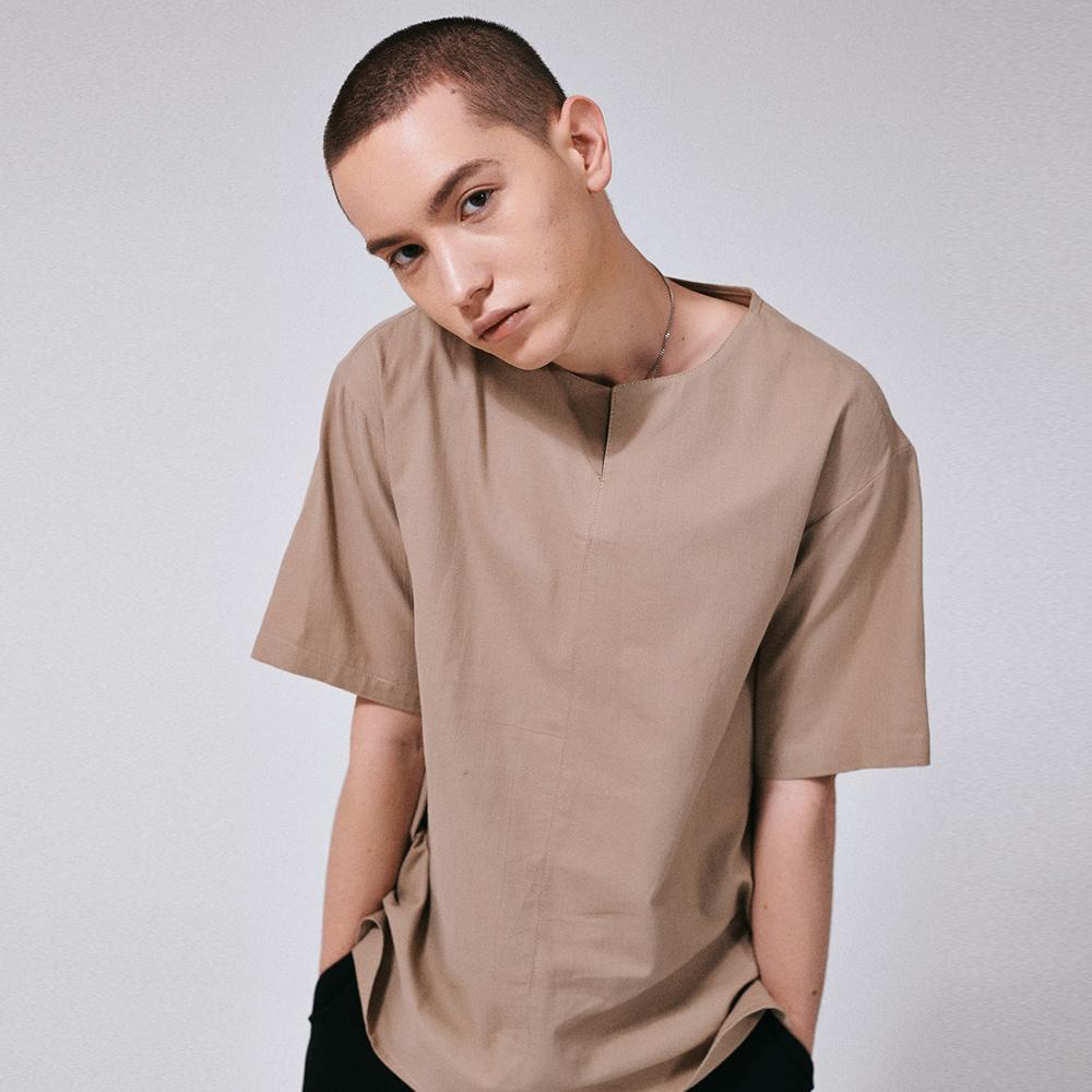 (MEN) 프론트 오픈 코튼 티셔츠 베이지