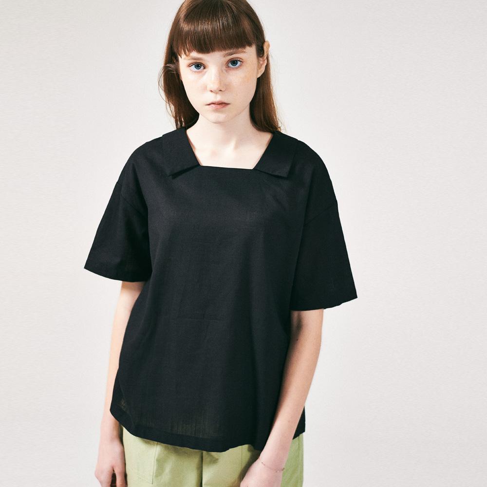 프론리어 카라 티셔츠 블랙