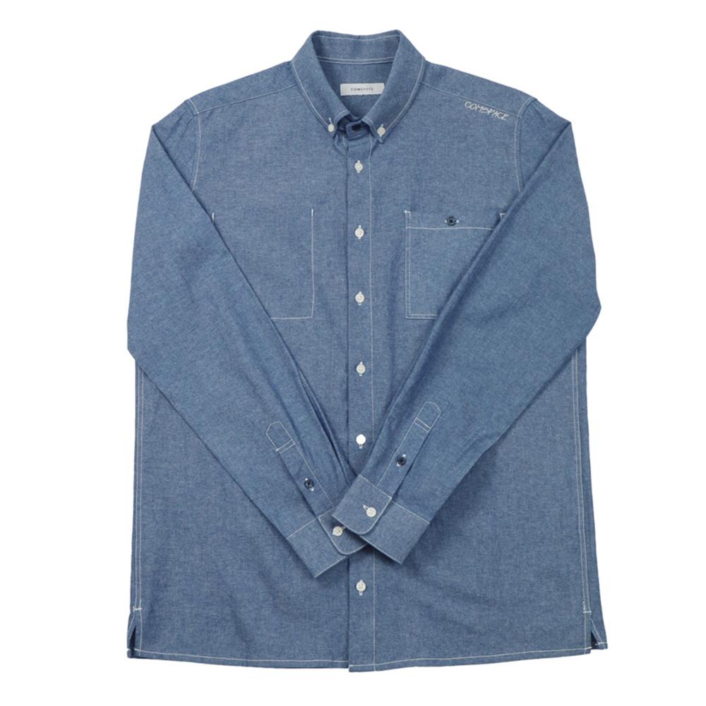 버튼다운 포켓 포인트 셔츠 블루