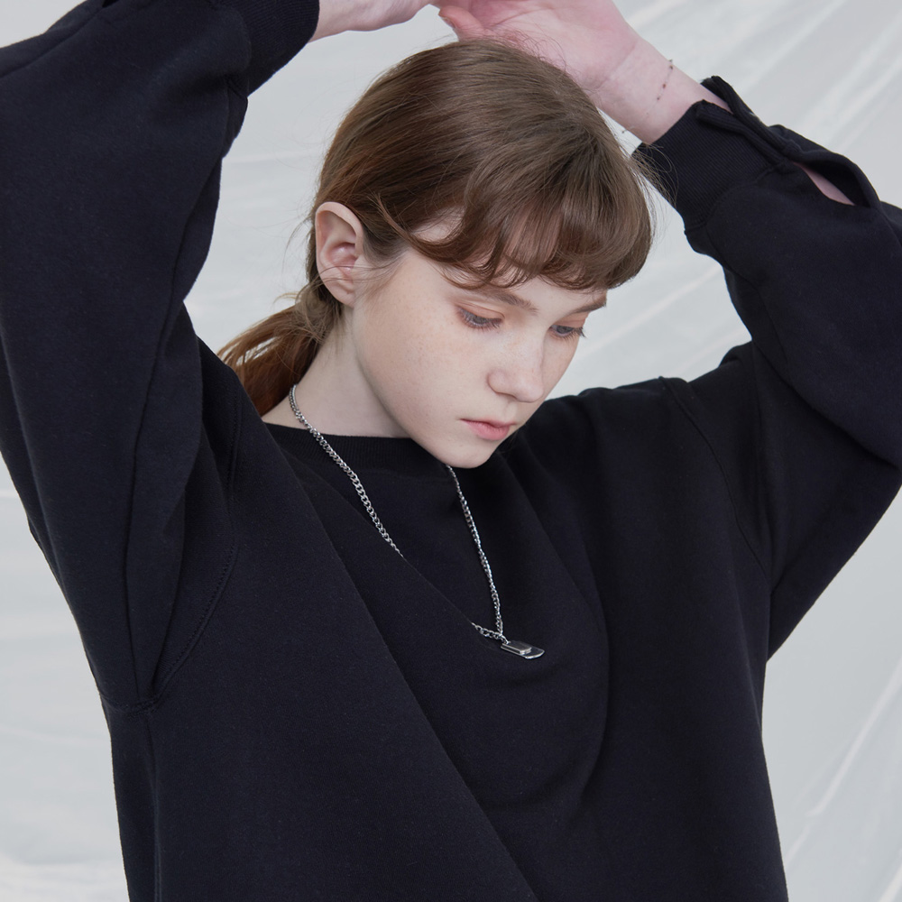 [UNISEX]OPEN UP SWEATSHIRTS (BLACK)