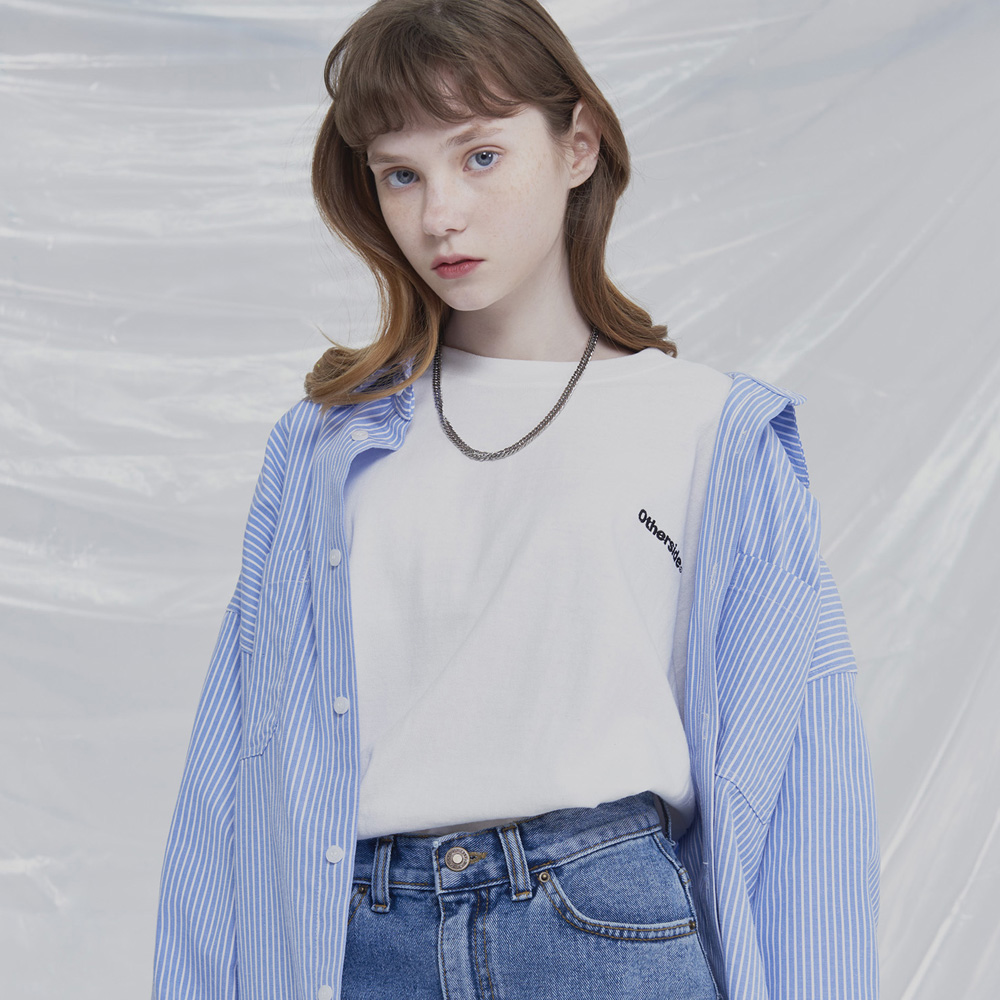 [UNISEX]COMFORTABLE OVERFIT STRIPED SHIRT (SKY BLUE)
