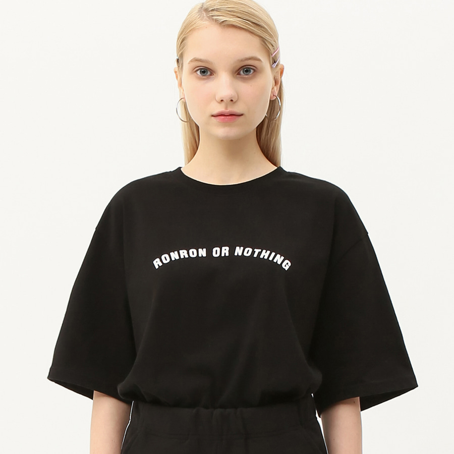 Round lettering over fit T-shirts black