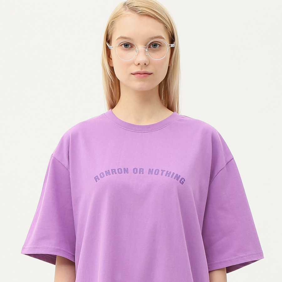 Round lettering over fit T-shirts light purple