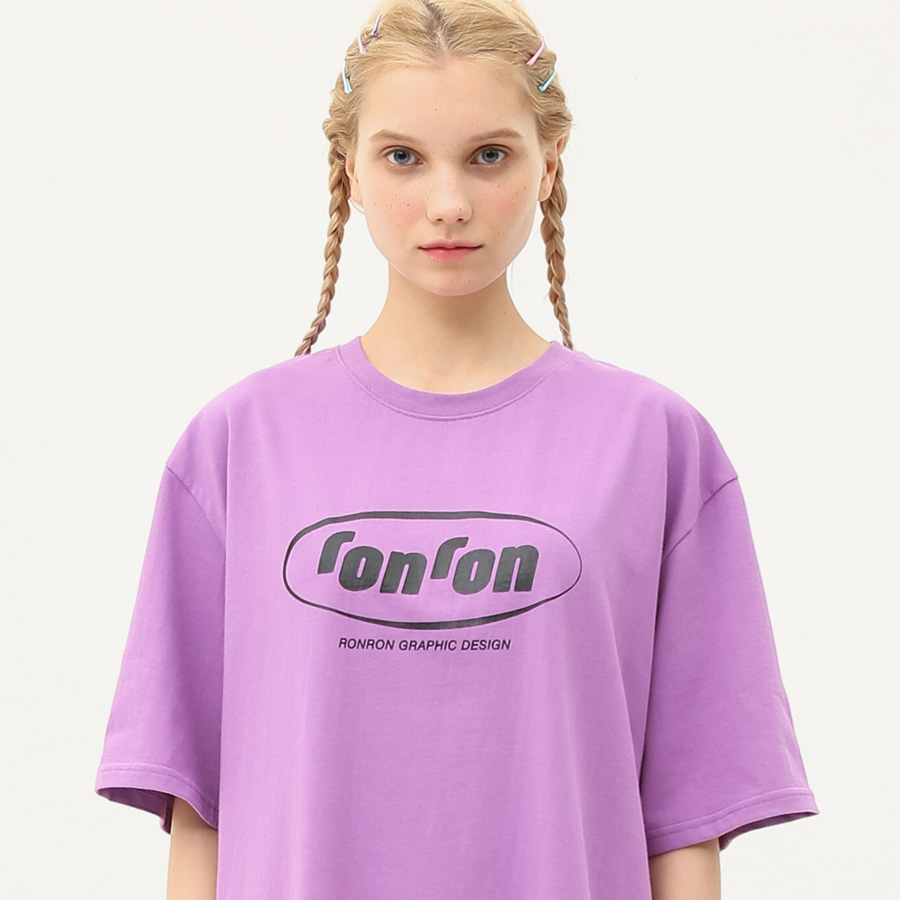 Circle logo over fit T-shirts light purple