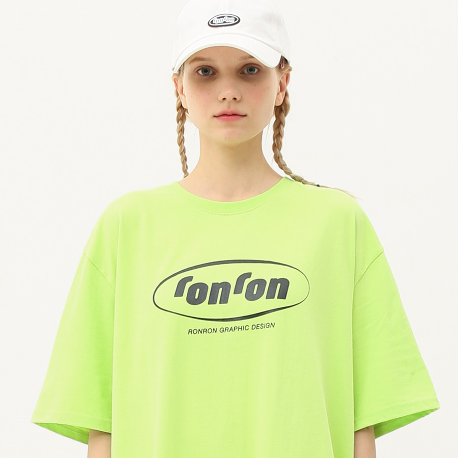 Circle logo over fit T-shirts lime