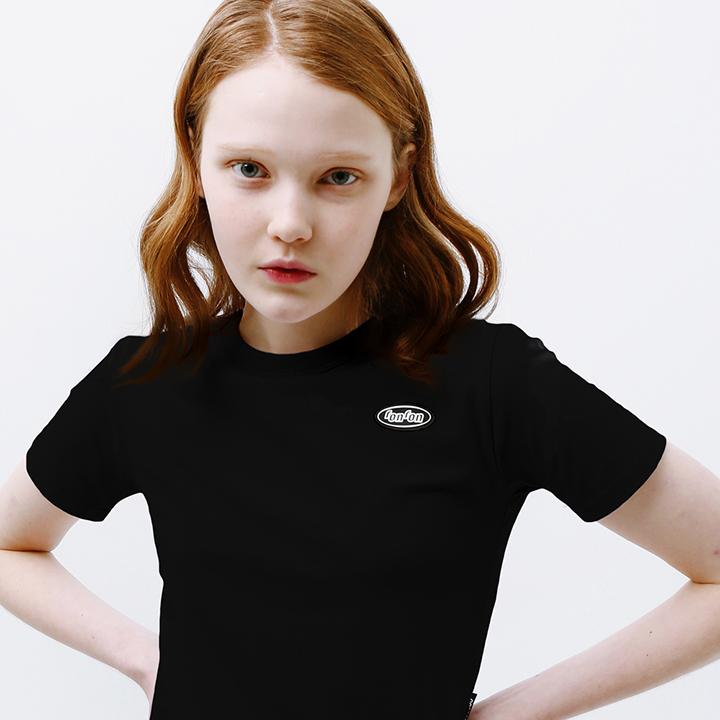 Mini circle logo crop T-shirt black