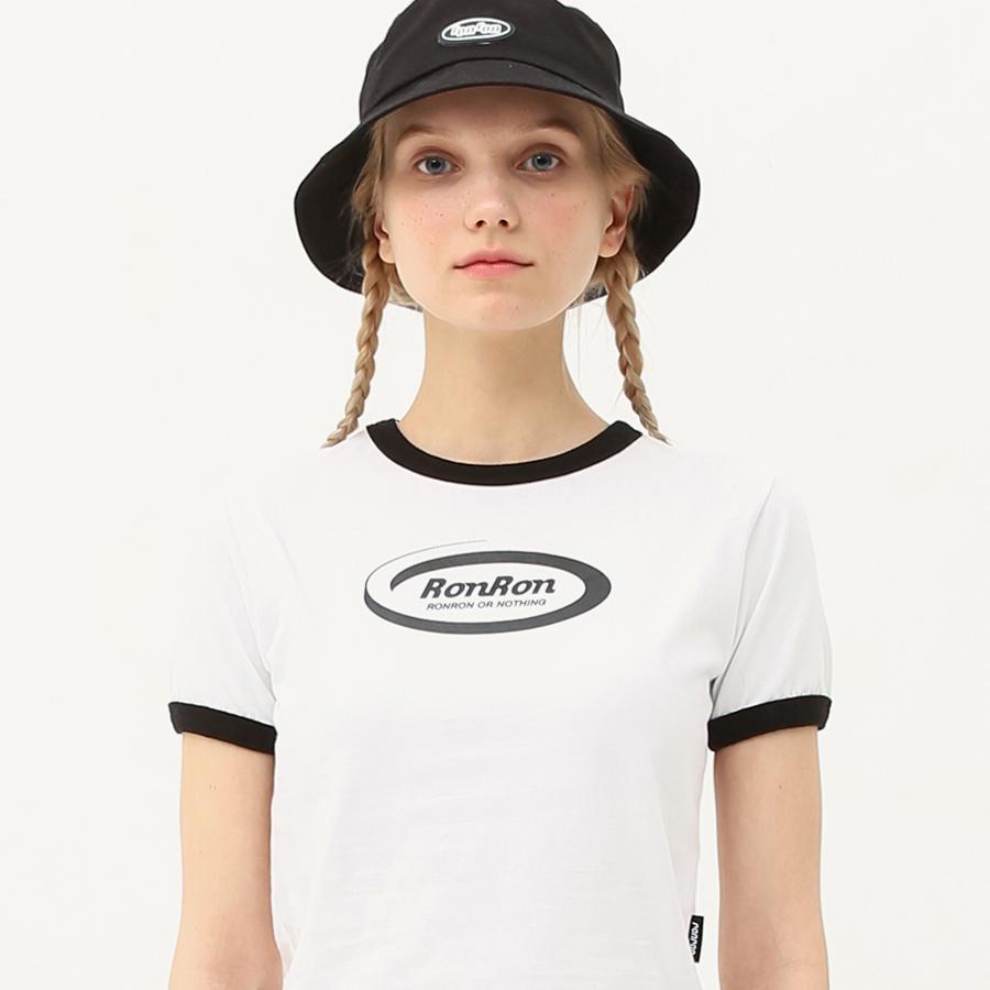 Ringer circle logo crop T-shirts white