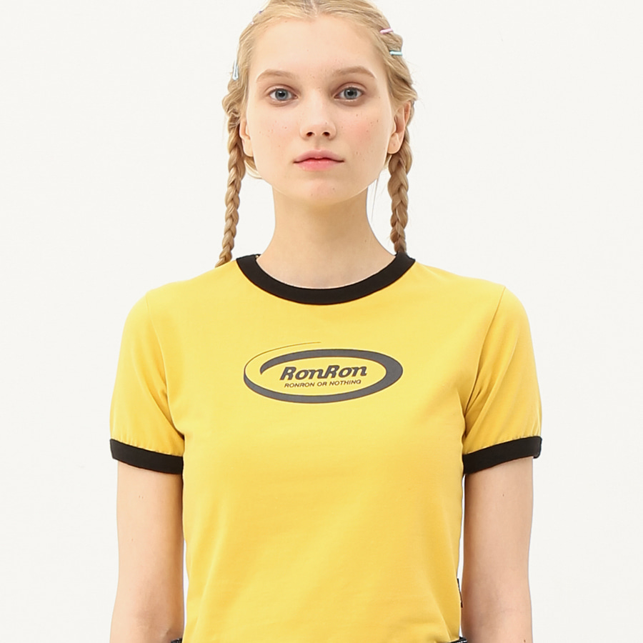 [단독할인]Ringer circle logo crop T-shirts mustard