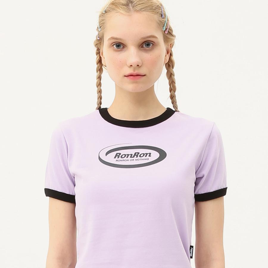 [단독할인]Ringer circle logo crop T-shirts light purple