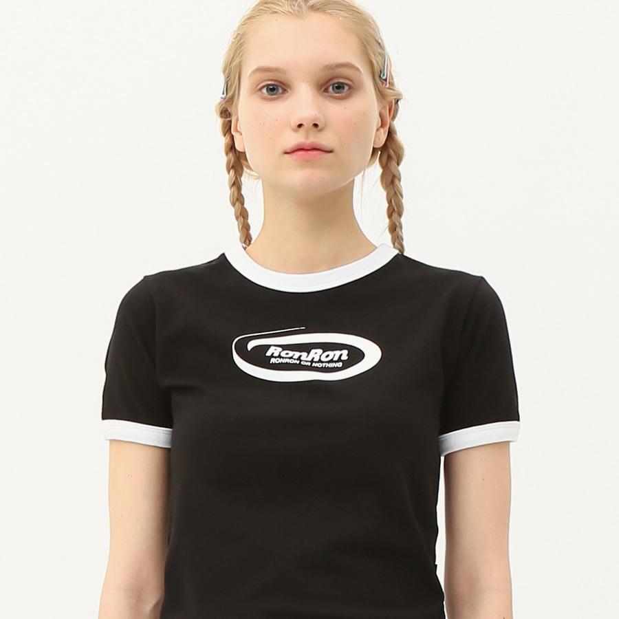 Ringer circle logo crop T-shirts black