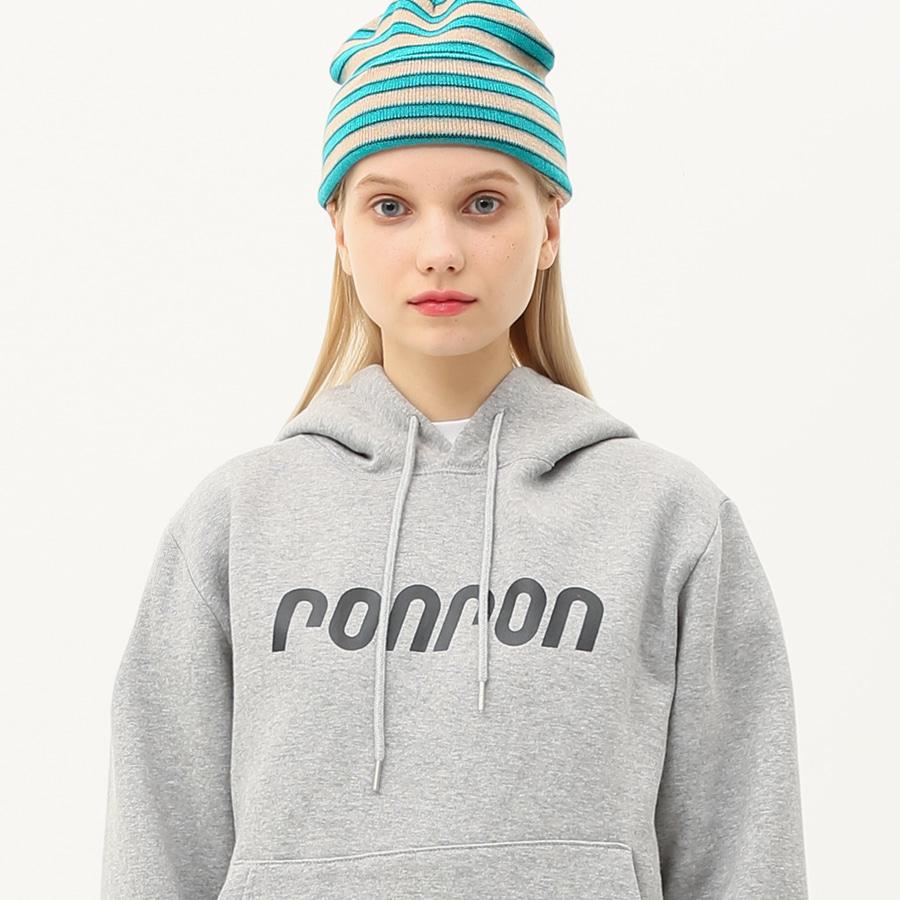 RONRON logo printing hood T-shirts gray