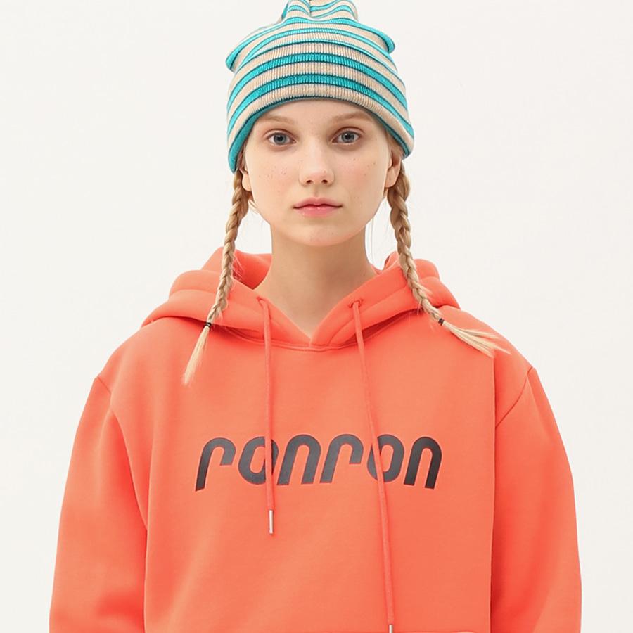RONRON logo printing hood T-shirts coral orange