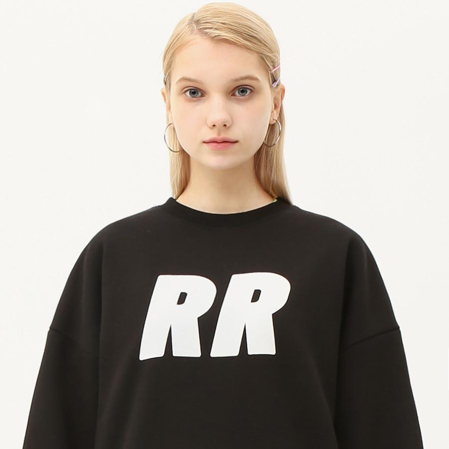 Flocking lettering sweatshirt black