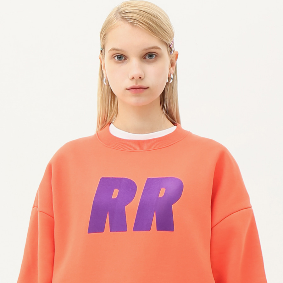 Flocking lettering sweatshirt coral orange