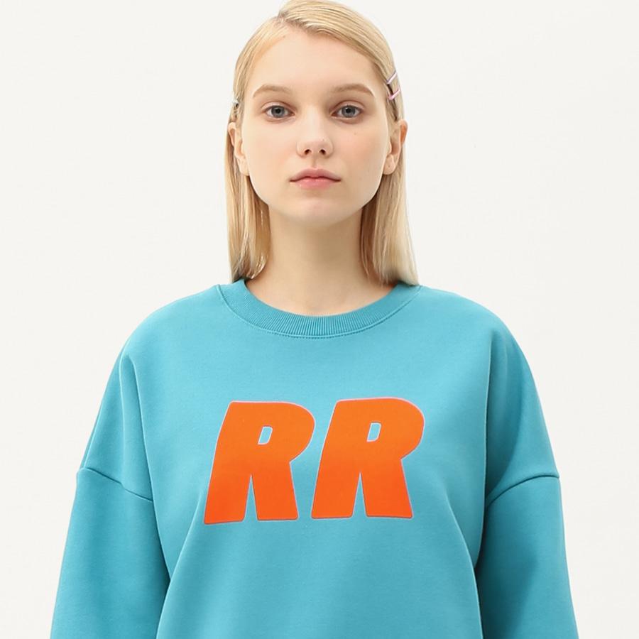 Flocking lettering sweatshirt beach blue