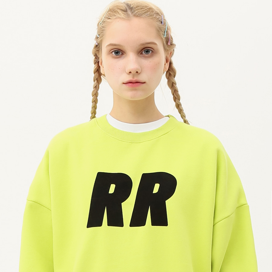 Flocking lettering sweatshirt lime