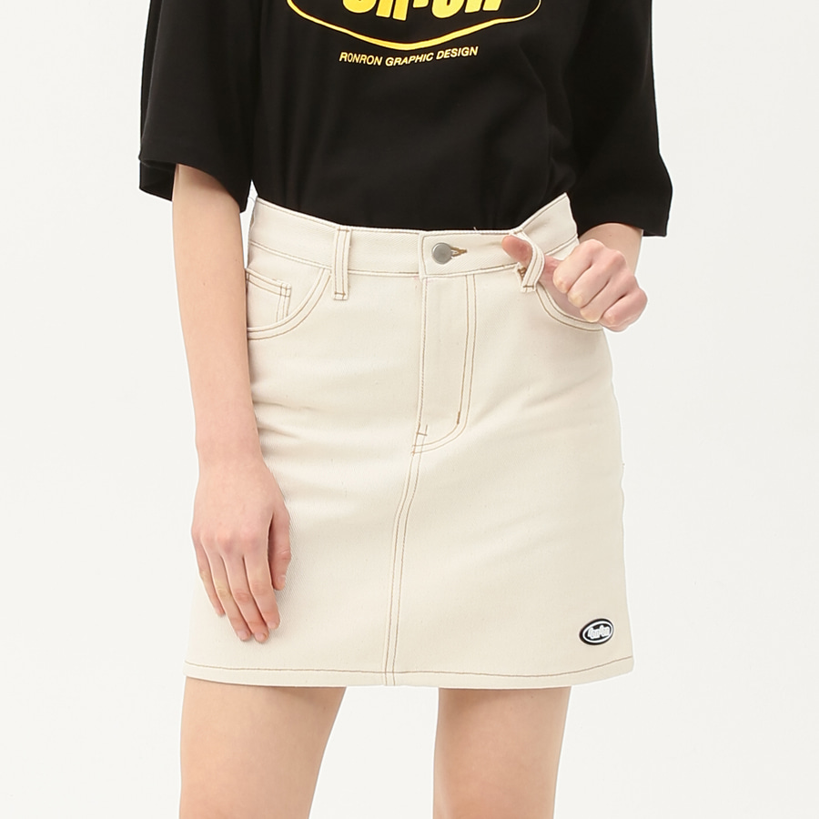Stitch point denim skirt ivory