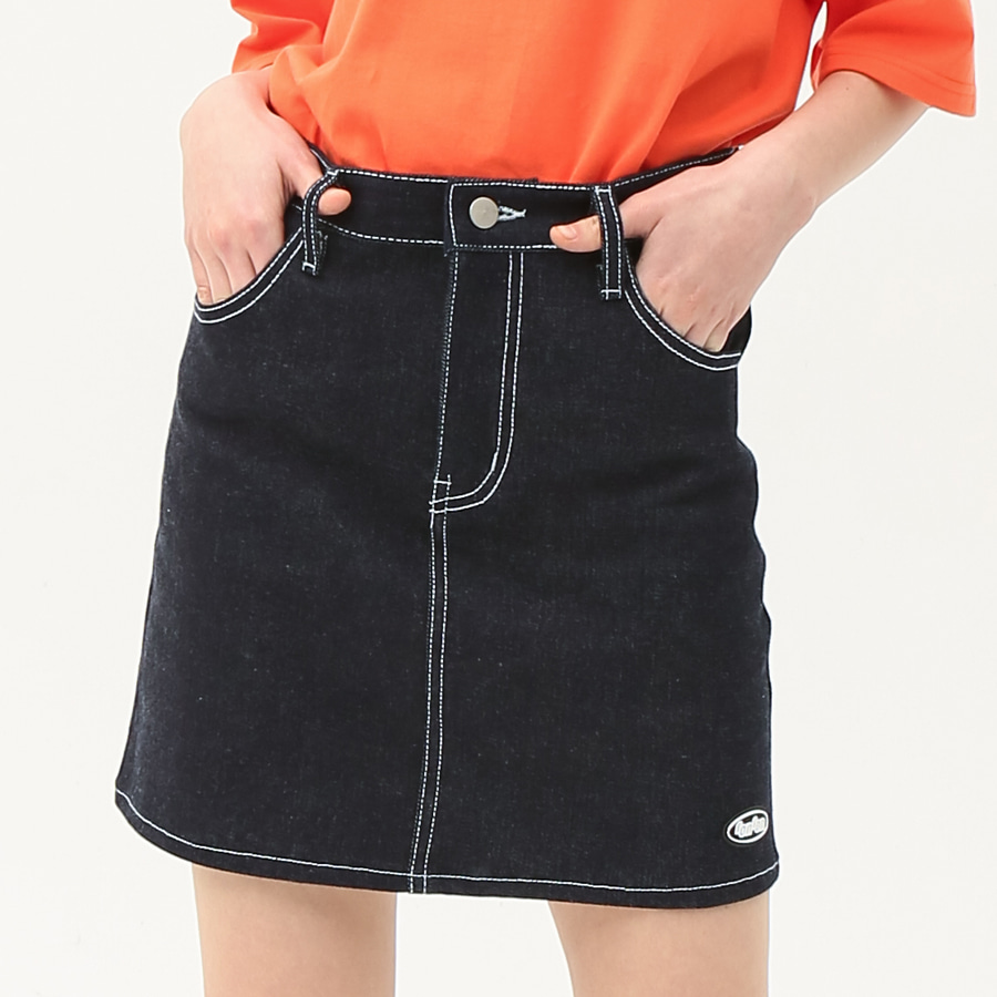 Stitch point denim skirt deep blue