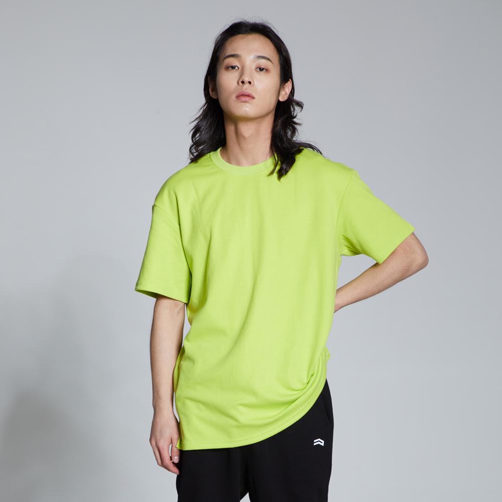 라이크라이즈 루즈핏 레이어드 무지 티셔츠(형광그린)