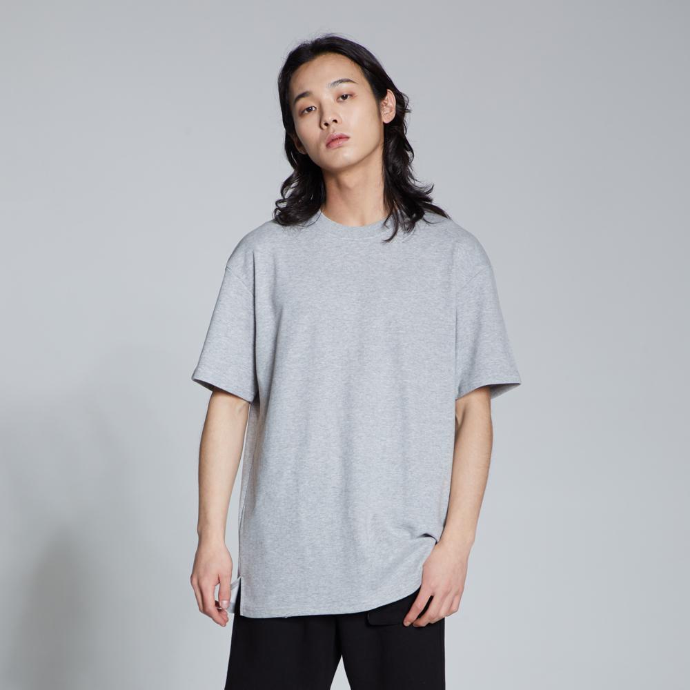 라이크라이즈 루즈핏 레이어드 무지 티셔츠(그레이)