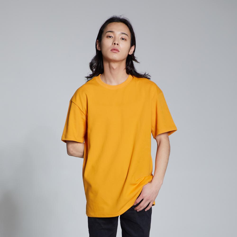 라이크라이즈 루즈핏 레이어드 무지 티셔츠(머스타드)