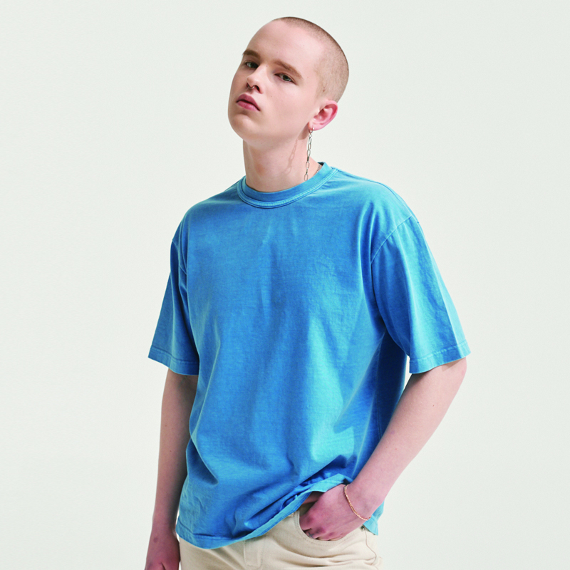 PIGMENT DYE LABEL T-SHIRTS SKYBLUE