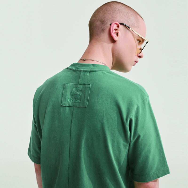 SOFT FABRIC BACK POINT LABEL T-SHIRTS SOFT GREEN