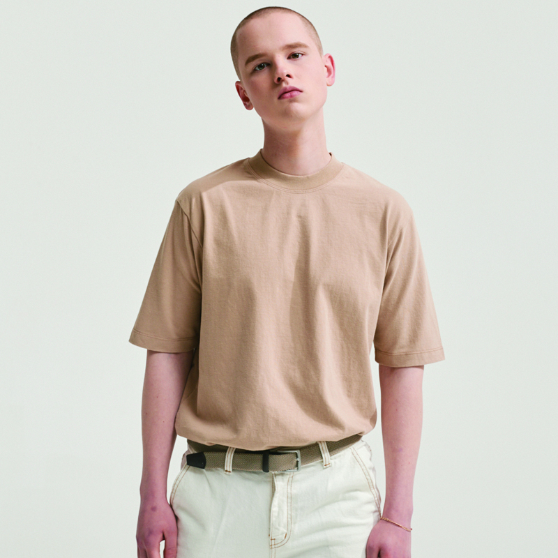 SOFT FABRIC BACK POINT LABEL T-SHIRTS BEIGE