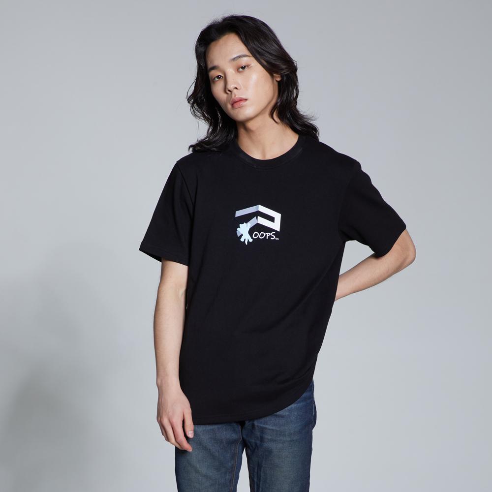 라이크라이즈 기본핏 브로큰 캣 로고 반팔티셔츠