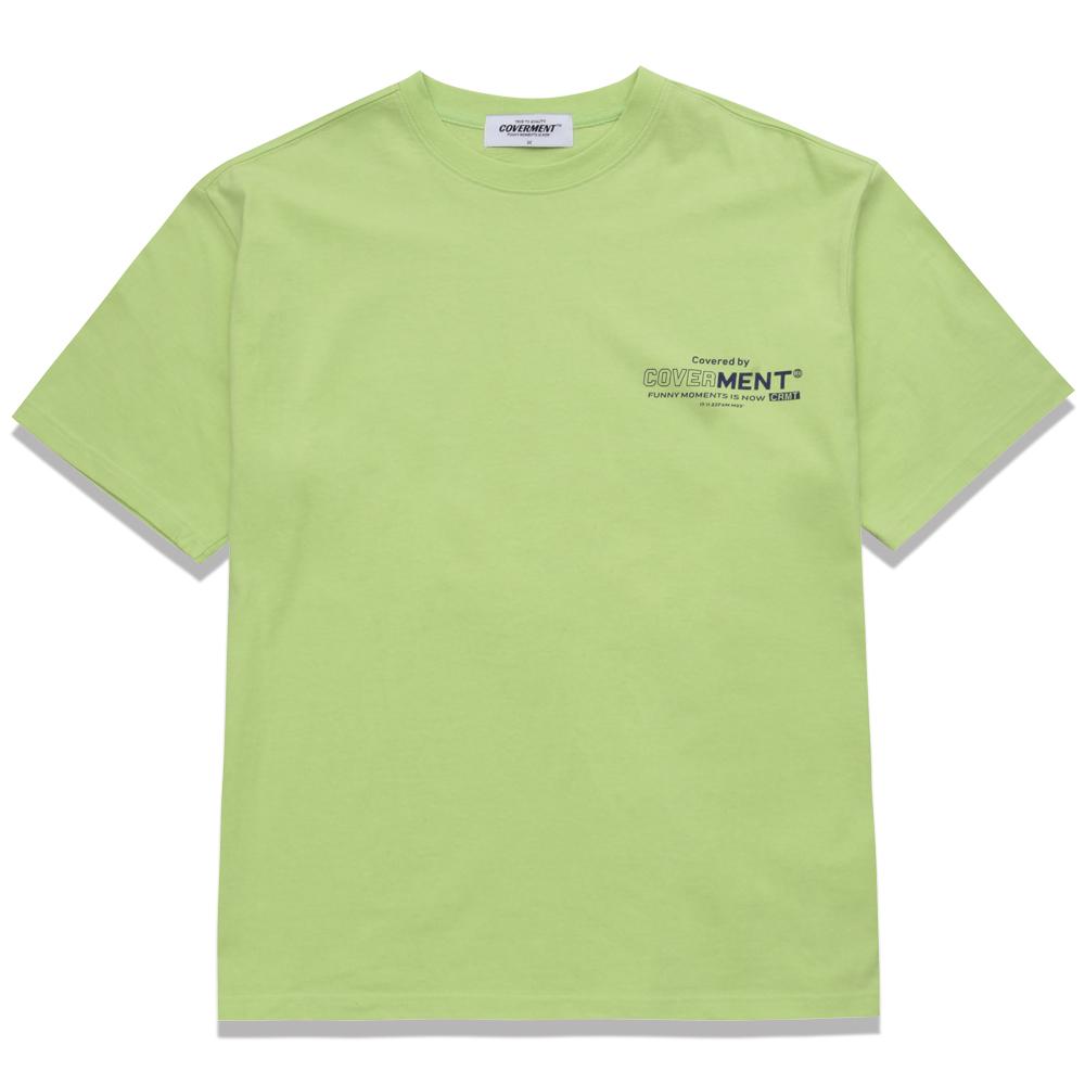 [COVERMENT] 베이직 로고 오버핏 티셔츠_형광그린