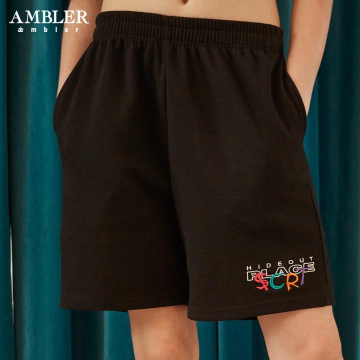[단독할인][엠블러]AMBLER 신상 트레이닝 5부 반바지 ASP201-블랙
