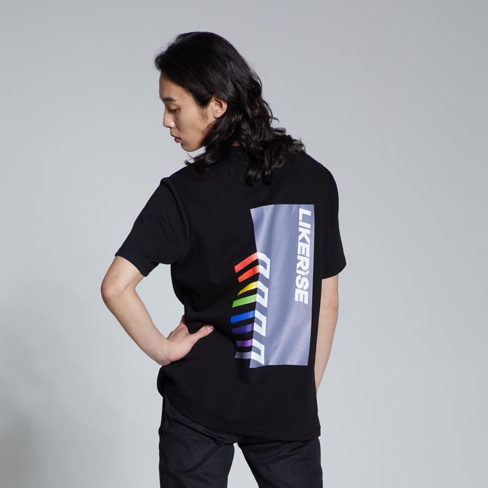 라이크라이즈 기본핏 멀티 백 로고 반팔티셔츠