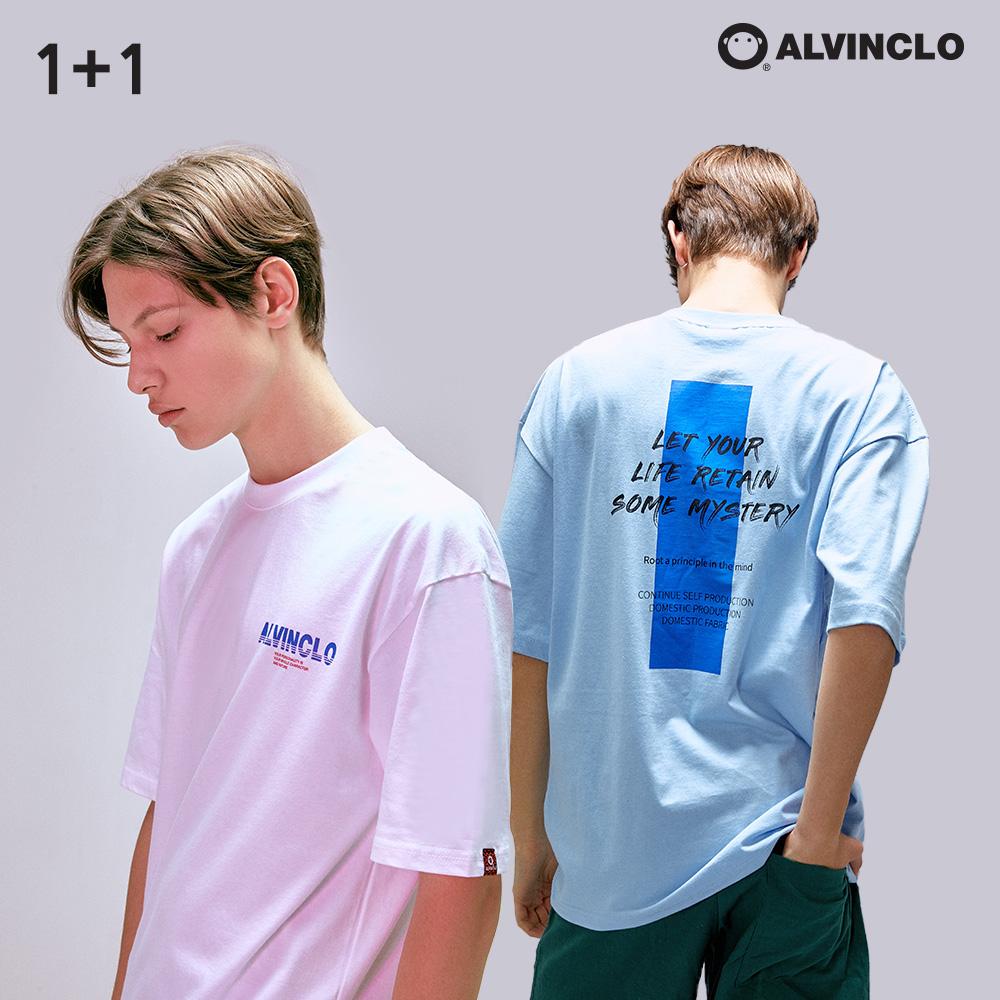 [단독상품][앨빈클로] [1+1] 그래픽 반팔 티셔츠 패키지