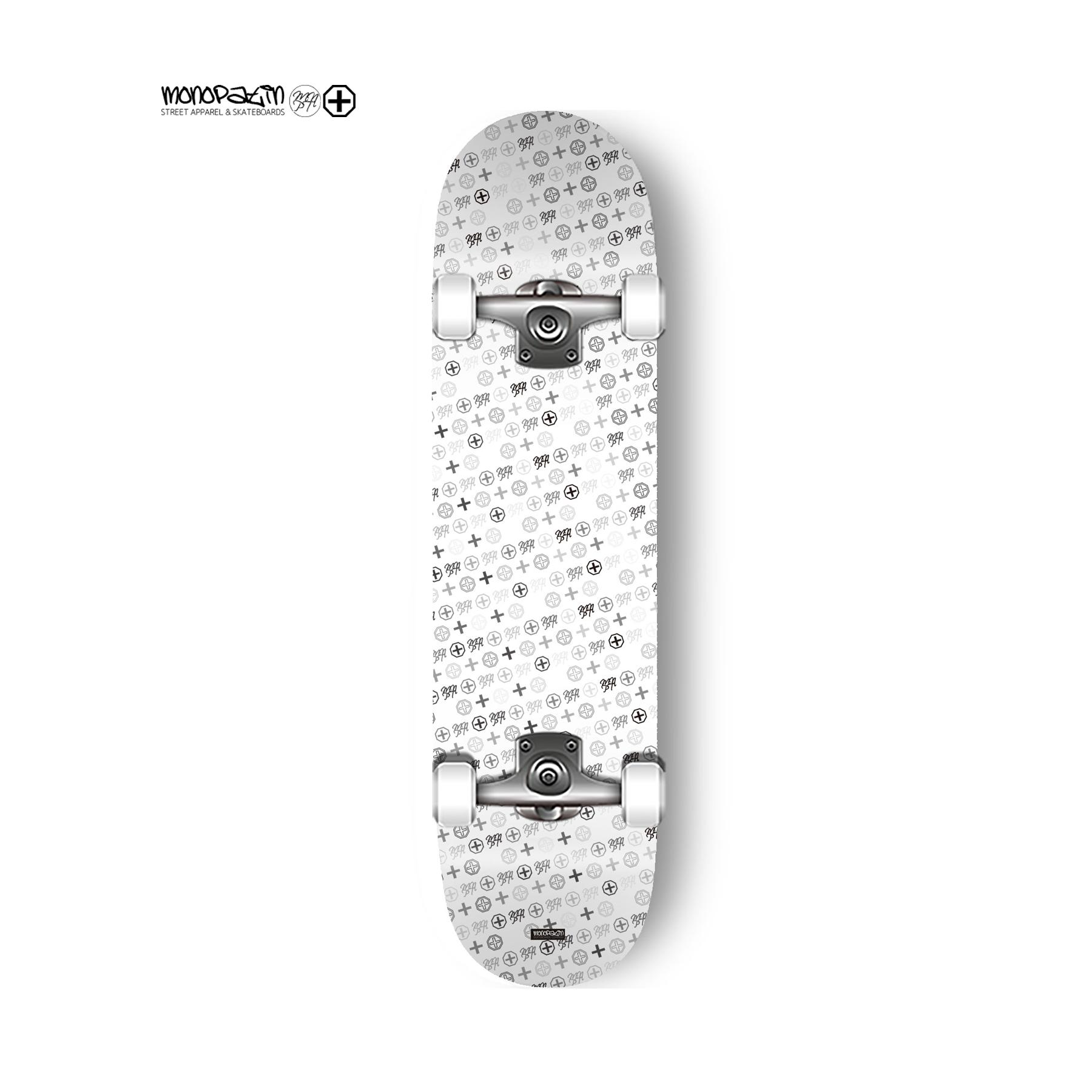 MNPT pattern white complete skateboard