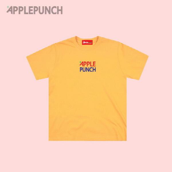 애플 센터 로고 반팔티셔츠 옐로우