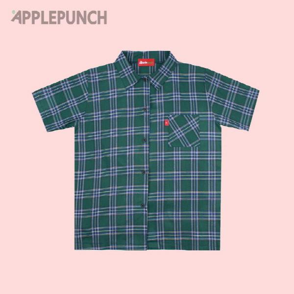 애플 체크 셔츠 그린