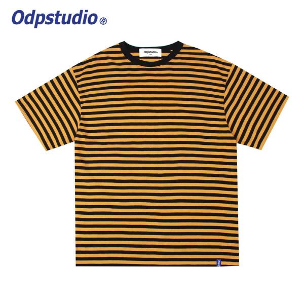 스트라이프 슬리브 반팔티셔츠 옐로우